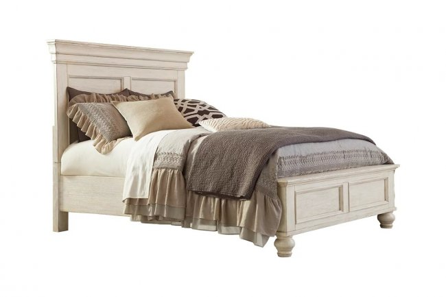 Saturno Sheesham Wood Queen Size Bed in White Colour