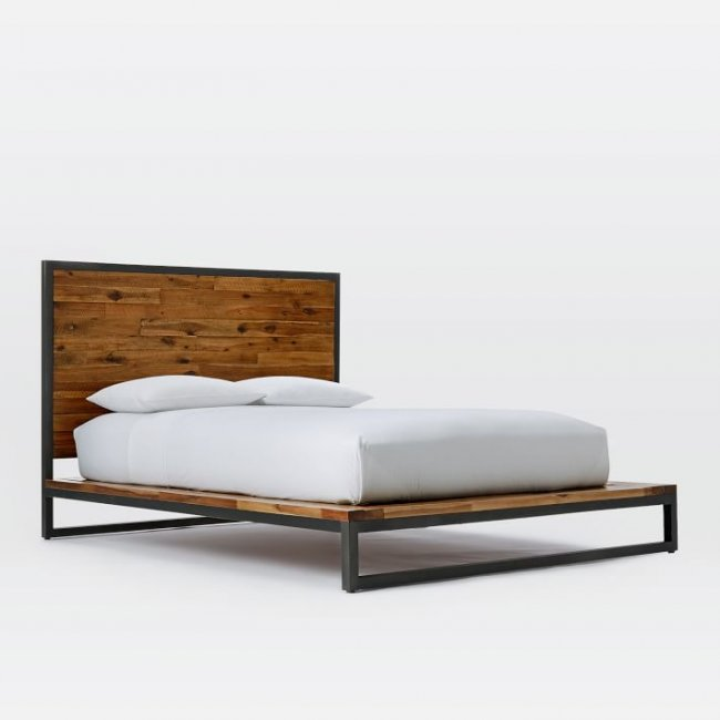 Nibbs Teak Wood Queen Size Bed Without Storage
