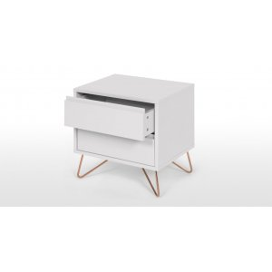 Haven Bedside Table In Grey & Copper
