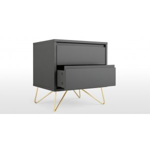 Haven Bedside Table In Charcoal & Brass