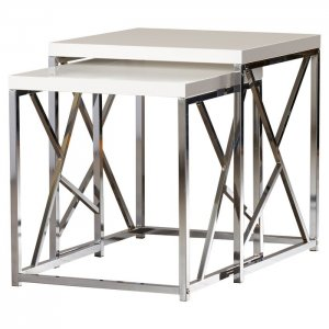 Combine 2 Piece Nesting Table in White Colour