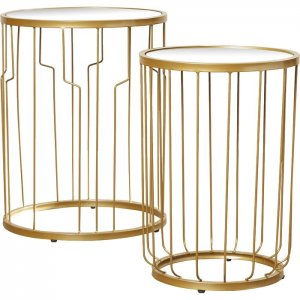 Panes Nesting Table in Golden Colour