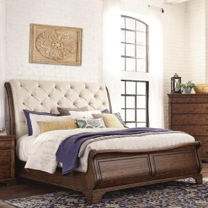 Risesun Sheesham Wood Queen Size Bed With Upholstered Headrest