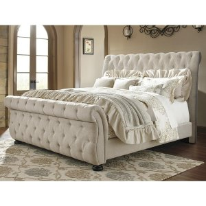 Pardleo King Size Upholstered Bed in Beige Colour Without Storage