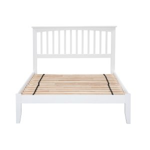 Trident Sheesham Wood Bed in White Colour