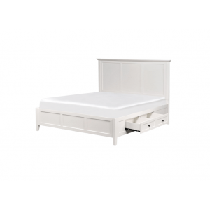 Pixxette Sheesham Queen Size Bed With Drawer Storage in White Colour