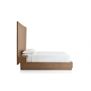 Liggjy Queen Size Bed Without Storage With Wall Mounted Backrest
