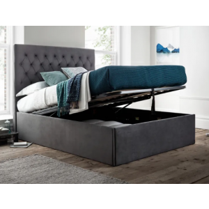 Tierfront Upholstered Single Bed with Hydraulic Storage in Dark Grey