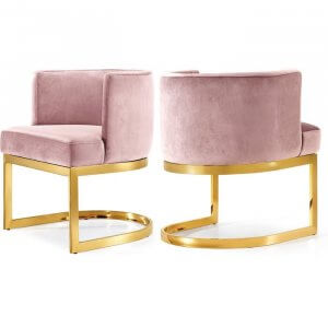 Amaze Steel Dining Chair Pink Colour with Golden Finish
