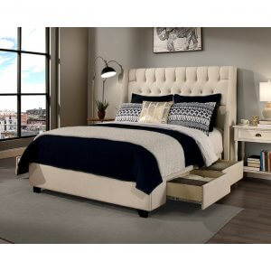 Lauchee Queen Size Upholstered Bed With Drawer Storage