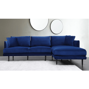 RugsMugs Corner Sofa Velvet Touch, Royal Blue