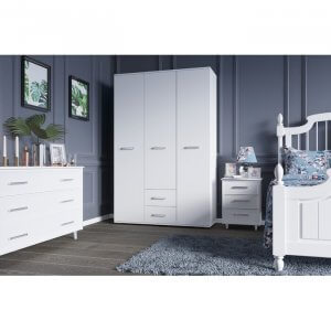 Detect 3 Door Manufactured Wood Wardrobe in White Colour