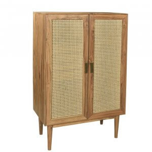 Outlaw Caned Sheesham Wood Wardrobe in Natural Finish