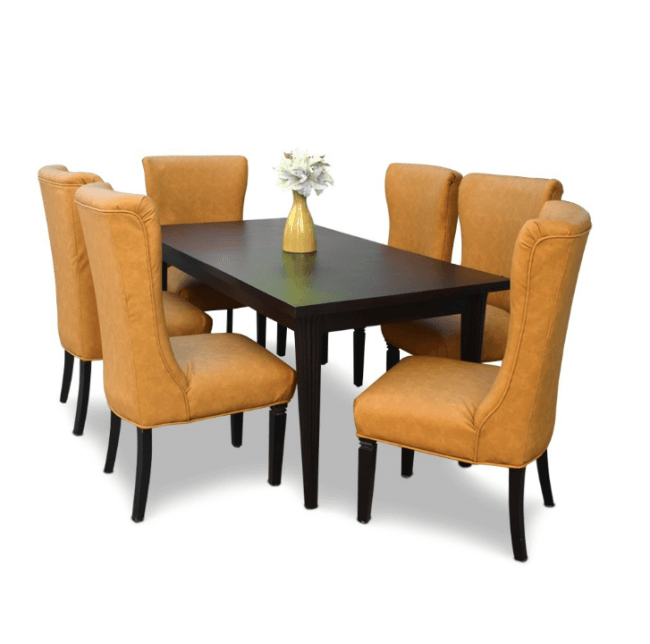 Savage Teak Wood Six Seater Dining Table with Chairs