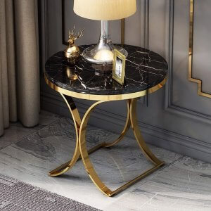 Stud Marble Top End Table