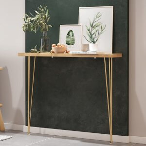 Meenz Sleek Rubber Wood Console Table