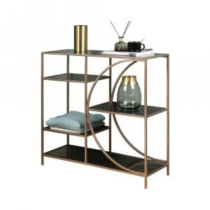 Megen Rose Gold Console Table with Glass Top