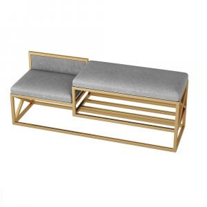 Burpi Metal Bench with Upholstery