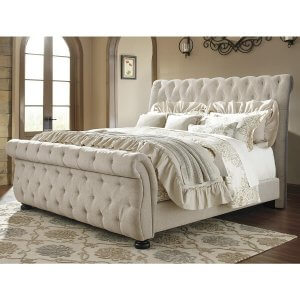 Pardleo Queen Size Upholstered Bed in Beige Colour Without Storage