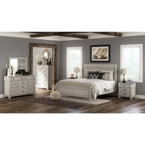 Portrait Wooden Rugged Queen Size Bed Without Storage