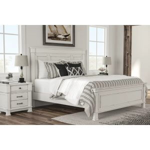 Portrait Wooden Rugged King Size Bed Without Storage