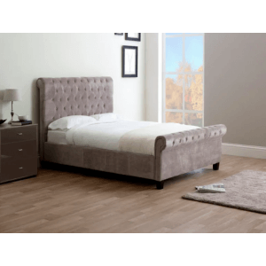 Volvery Upholstered Single Bed Without Storage in Grey Colour
