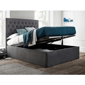 Tierfront Upholstered Single Bed with Hydraulic Storage in Blue Colour