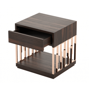 Sodil Bedside Table in Smoked Finish Wood