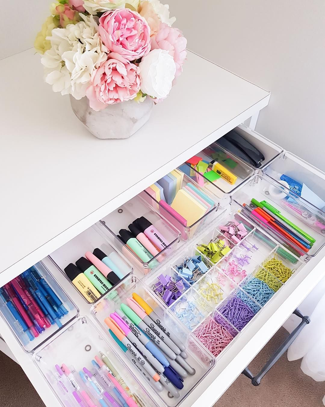 colourful stationery in drawer