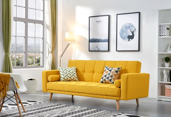 Brightly Colored yellow sofa
