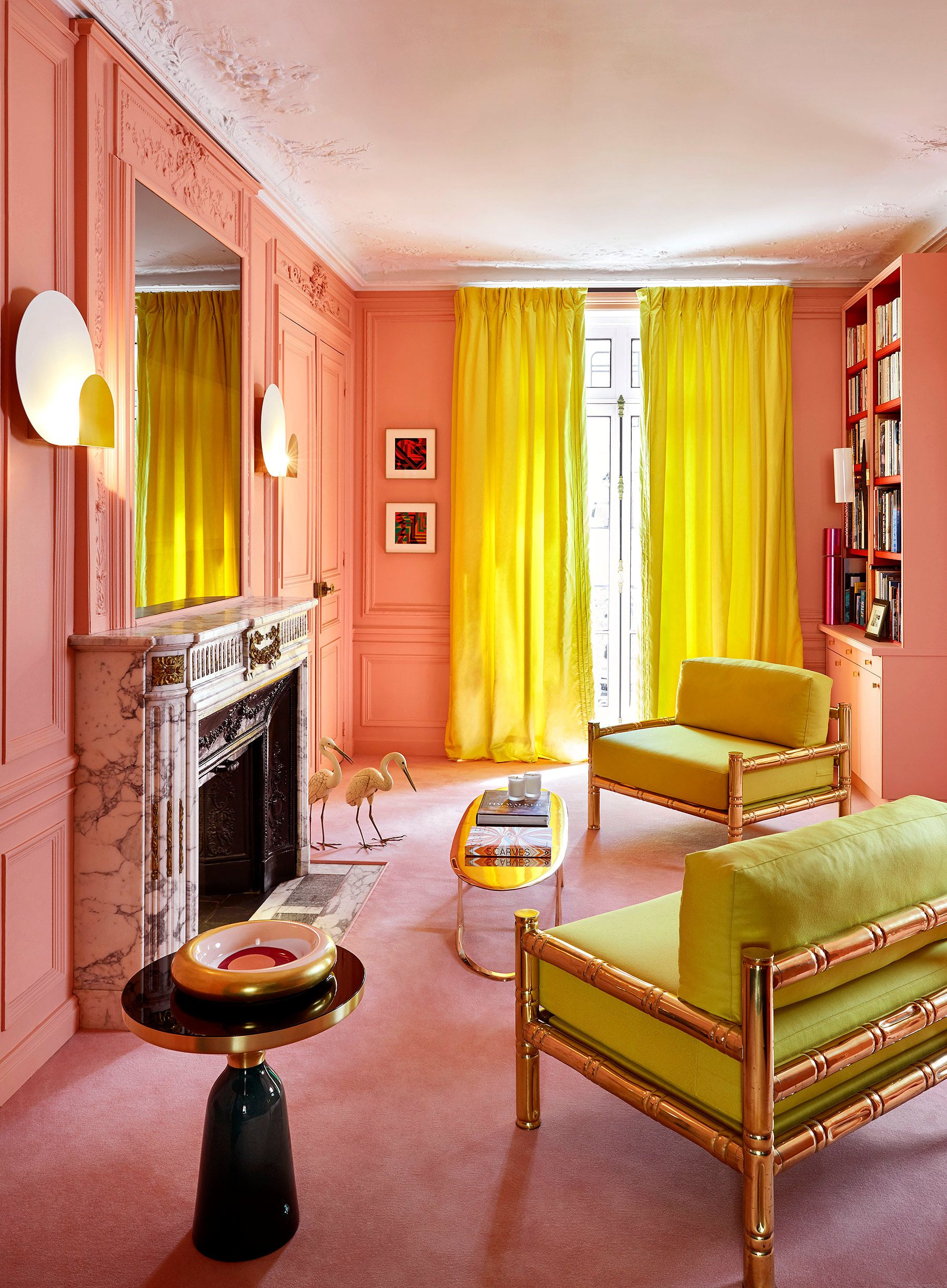 pink and citron home decor