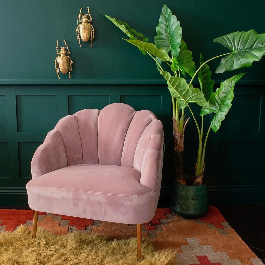 pink and emerald green home decor