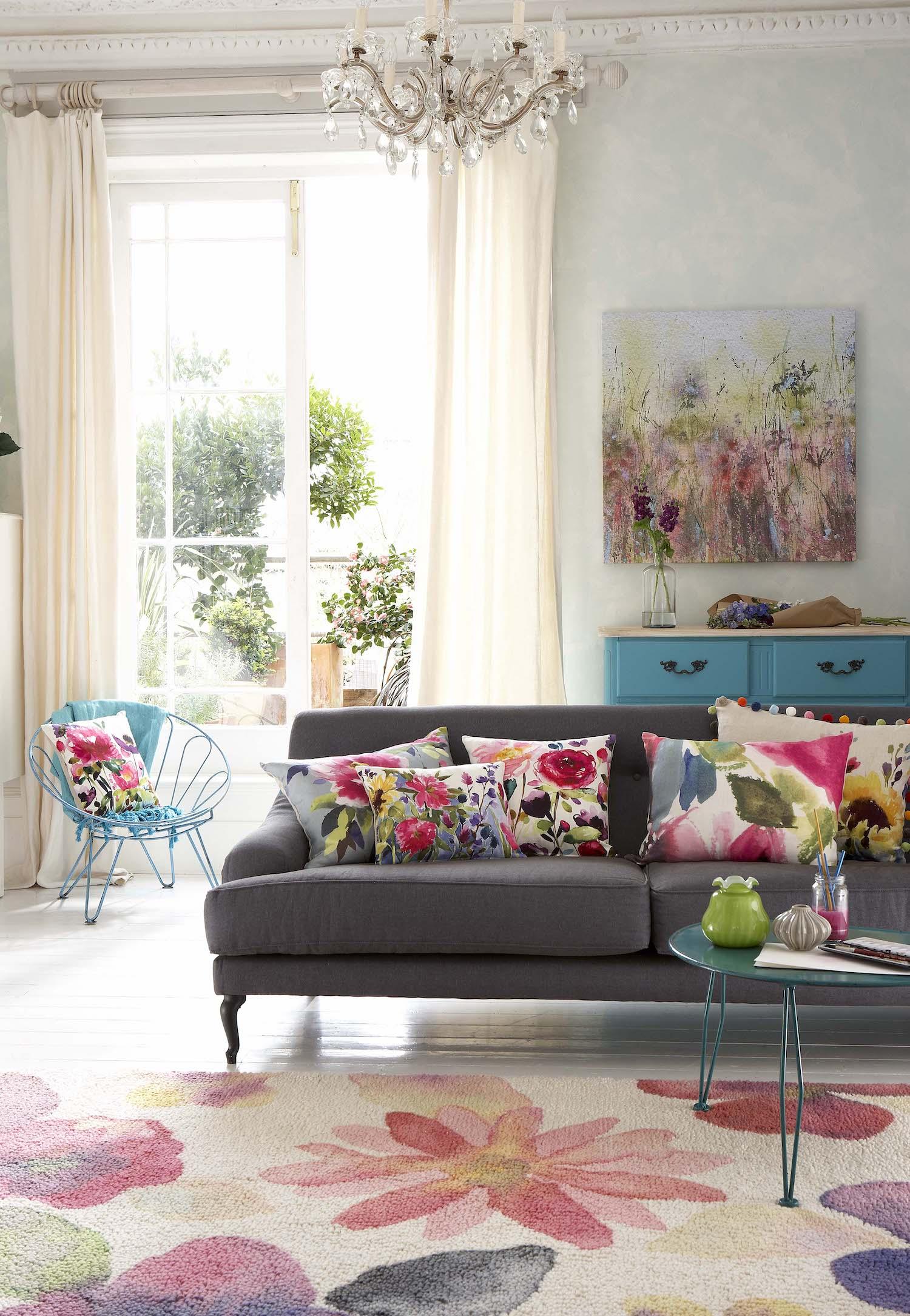 floral fabric living room