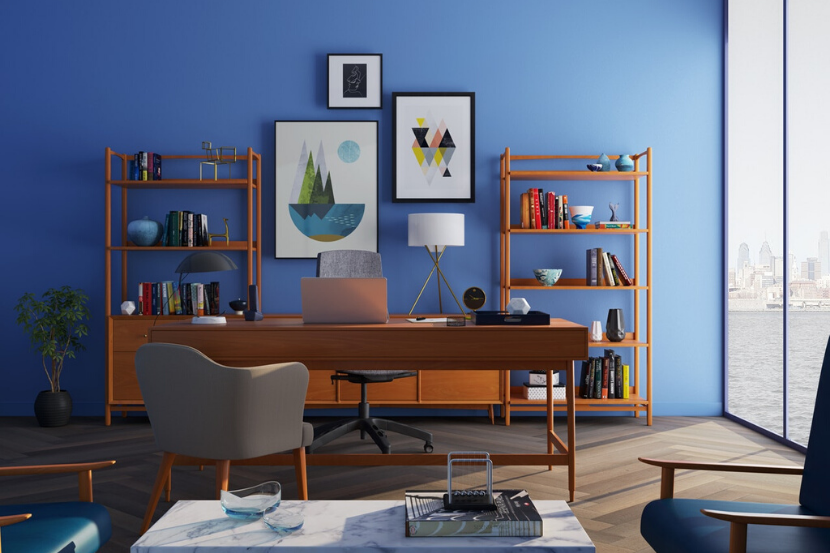 office desk with blue background