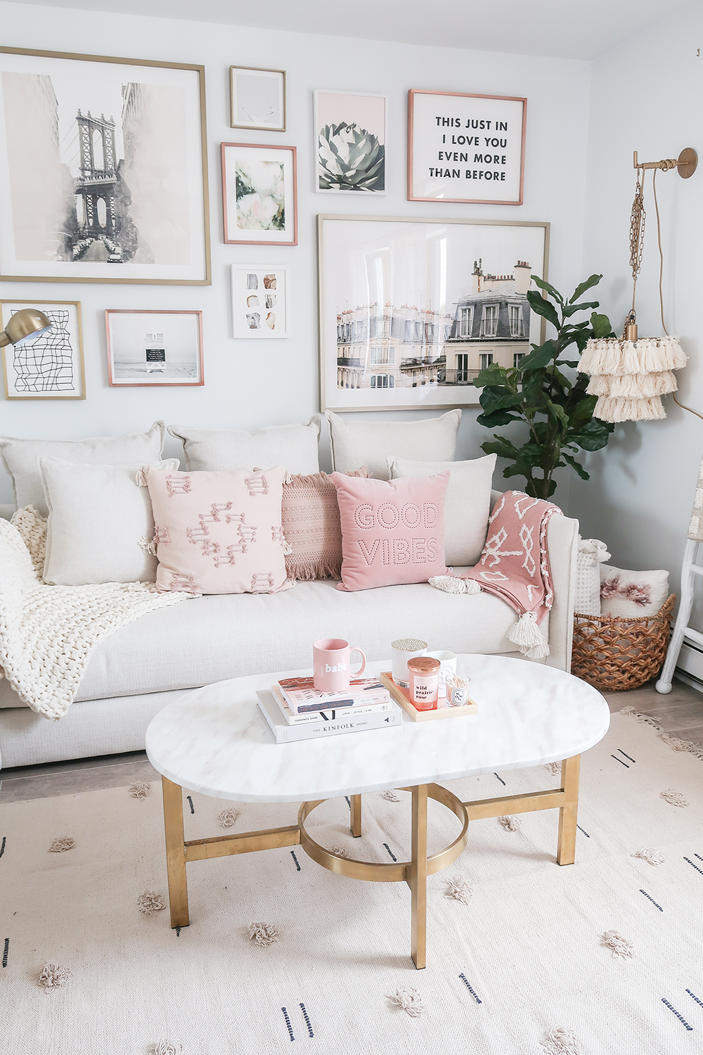 pink and white home decor